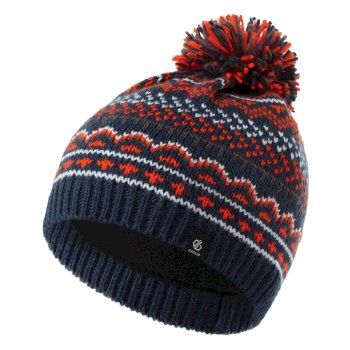 Dare 2b - Boys' Buzzer Fleece Lined Knit Bobble Beanie Dark Denim Blaze Orange Aluminium Grey