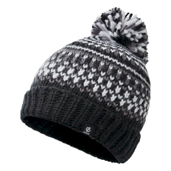 Dare 2b - Boys' Agitate II Fleece Lined Knit Bobble Beanie Black White Aluminium Grey