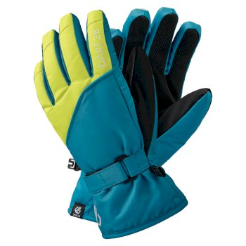 Dare 2b - Boys' Mischievous II Water Repellent Ski Gloves Petrol Blue Lime Punch