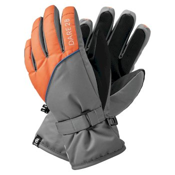 Dare 2b - Boys' Mischievous II Water Repellent Ski Gloves Aluminium Grey Blaze Orange
