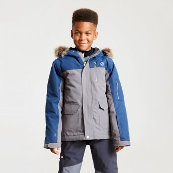 Boys' Furtive Fur Trimmed Ski Jacket Aluminium Grey Admiral Blue