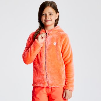 Dare 2b - Girls' Prelim Full Zip Hooded Fleece Fiery Coral