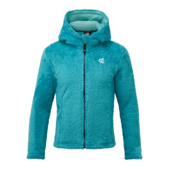 Dare 2b Girls' Prelim Full Zip Hooded Fleece Ceramic Blue Ceramic Blue