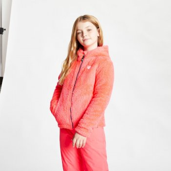 Dare 2b - Girls' Prelim Full Zip Hooded Fleece Neon Pink