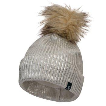 Girls' Convince Metallic Bobble Hat White