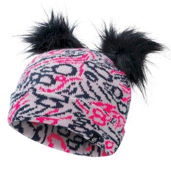 Dare 2b - Girls' Genius Cable Knit Faux Fur Bobble Beanie Neon Pink Dark Denim