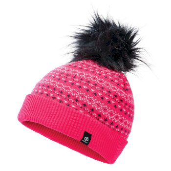 Dare 2b - Girls' Homey Fleece Lined Knit Faux Fur Bobble Beanie Neon Pink