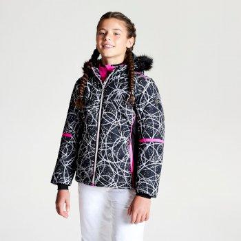 Czarna dziewczęca kurtka narciarska z futrzanym kapturem i printem Elusive