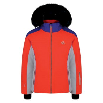 Dare 2b - Girls' Vast Fur Trimmed Ski Jacket Fiery Coral Simply Purple