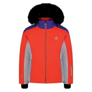 Dare 2b - Girls' Vast Fur Trimmed Ski Jacket Fiery Coral Simply Purple