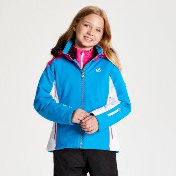 Dare 2b - Girls' Vast Fur Trimmed Ski Jacket Atlantic Blue Cyber Pink
