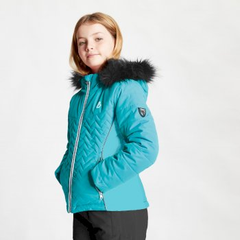 Dare 2b - Girls' Snowdrop Waterproof Fur Trim Hooded Ski Jacket Ceramic Blue
