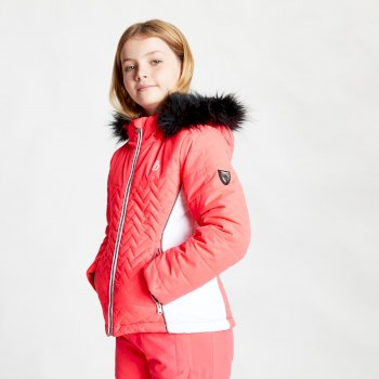 Dare 2b - Girls' Snowdrop Waterproof Fur Trim Hooded Ski Jacket Neon Pink White