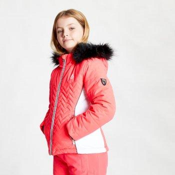 Dare 2b - Girls' Snowdrop Waterproof Fur Trim Hooded Ski Jacket Neon Pink White