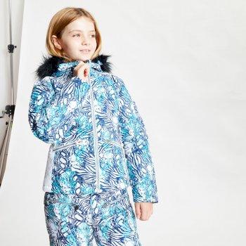 Dare 2b - Girls' Far Out Waterproof Fur Trim Hooded Ski Jacket Ceramic Blue Ceramic Blue