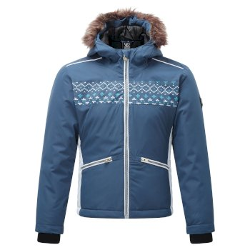Dare 2b - Girls' Far Out Waterproof Fur Trim Hooded Ski Jacket Dark Denim Dark Denim