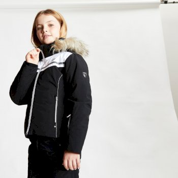 Dare 2b - Girls' Estimate Waterproof Fur Trim Hooded Ski Jacket Black White Black White