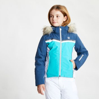 Dare 2b - Girls' Estimate Waterproof Fur Trim Hooded Ski Jacket  Ceramic Blue Dark Denim