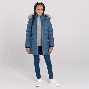 Girls' Striking Swarovski Embellished Waterproof Jacket Dark Denim