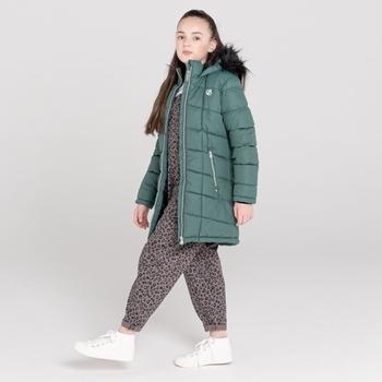 Dare 2b - Girls' Striking Waterproof Quilted Fur Trim Hooded Parka Ski Jacket Royal Green