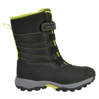 Kids' Skiway II Fleece Lined Snow Boots Black Citron Lime