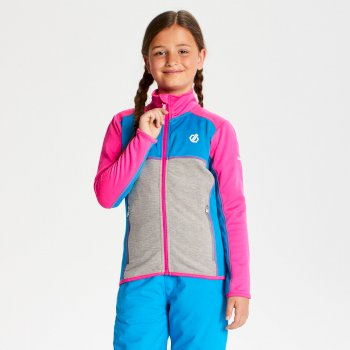 Dare 2b - Kids' Exceed Core Stretch Midlayer Cyber Pink Atlantic Blue