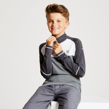 Dare 2b - Kids' Formate Core Stretch Half Zip Midlayer Aluminium Grey Ebony