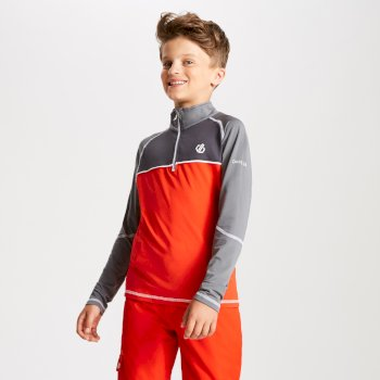 Dare 2b - Kids' Formate Core Stretch Half Zip Midlayer Fiery Red Aluminium Grey
