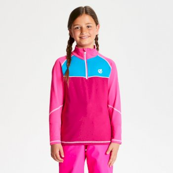 Dare 2b - Kids' Formate Core Stretch Half Zip Midlayer Fuchsia Cyber Pink