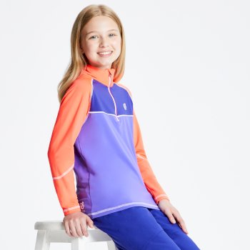 Dare 2b - Kids' Formate Core Stretch Half Zip Midlayer Simply Purple Fiery Coral