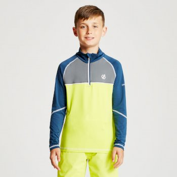 Dare 2b - Kids' Formate Core Stretch Half Zip Midlayer Citron Lime Admiral Blue