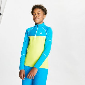 Dare 2b - Kids' Formate Core Stretch Half Zip Midlayer Methyl Blue Lime Punch Methyl Blue Lime Punch