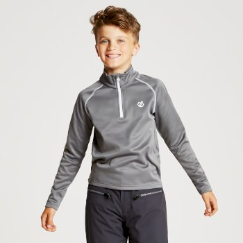 Dare 2b - Kids' Consist Core Stretch Half Zip Midlayer Aluminium Grey