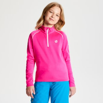 Dare 2b - Kids' Consist Core Stretch Half Zip Midlayer Cyber Pink