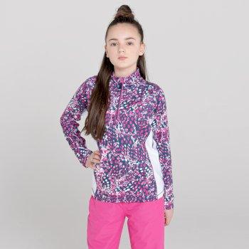 Dare 2b - Kids' Commit Half Zip Lightweight Core Stretch Midlayer Rasberry Rose White