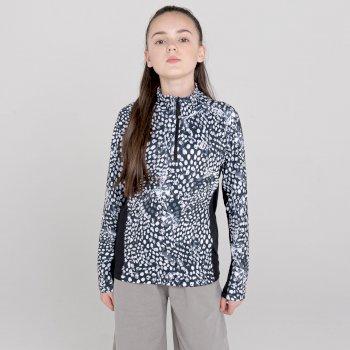 Dare 2b - Kids' Commit Half Zip Lightweight Core Stretch Midlayer Black And White Snow Leopard Print Black