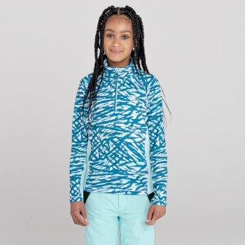 Dare 2b - Kids' Commit Half Zip Lightweight Core Stretch Midlayer Dark Methyl Zebra Print Aruba Blue
