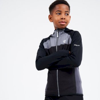Dare 2b - Kids' Hasty Full Zip Hooded Lightweight Core Stretch Midlayer Black Ebony Grey