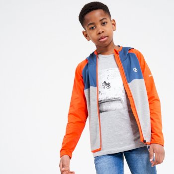 Dare 2b - Kids' Hasty Full Zip Hooded Lightweight Core Stretch Midlayer Blaze Orange Dark Denim