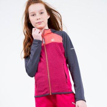 Dare 2b - Kids' Hasty Full Zip Hooded Lightweight Core Stretch Midlayer Ebony Grey Neon Pink