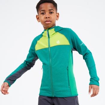 Dare 2b - Kids' Hasty Full Zip Hooded Lightweight Core Stretch Midlayer Ultramarine Lime Punch Green
