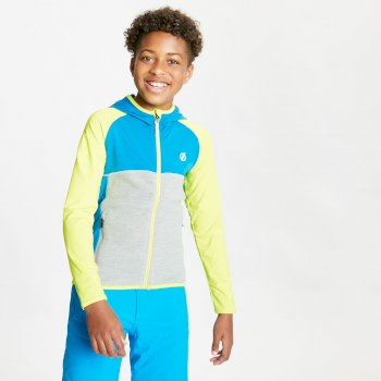 Dare 2b - Kids' Hasty Full Zip Hooded Lightweight Core Stretch Midlayer Lime Punch Methyl Blue