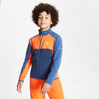 Dare 2b - Kids' Except Full Zip Lightweight Core Stretch Midlayer Blaze Orange Dark Denim