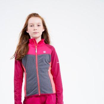 Dare 2b - Kids' Except Full Zip Lightweight Core Stretch Midlayer Berry Pink Ebony Grey