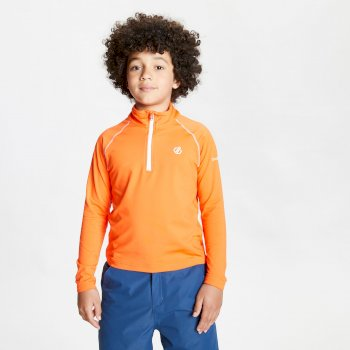 Dare 2b - Kids' Consist II Half Zip Lightweight Core Stretch Midlayer Blaze Orange