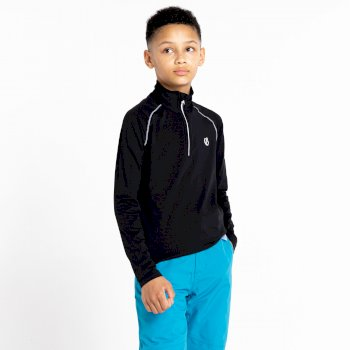 Dare 2b - Kids' Consist II Half Zip Lightweight Core Stretch Midlayer Black Black
