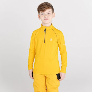 Dare 2b - Kids' Consist II Half Zip Lightweight Core Stretch Midlayer Glowlight Yellow