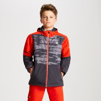 Dare 2b - Kids' Aviate Ski Jacket Aluminium Grey Camo Print Fiery Red