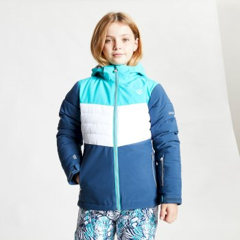 Dare 2b - Kids' Freeze Up Waterproof Insulated Hooded Ski Jacket Ceramic Blue White