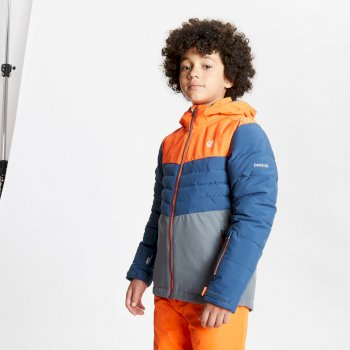 Dare 2b - Kids' Freeze Up Waterproof Insulated Hooded Ski Jacket Blaze Orange Dark Denim